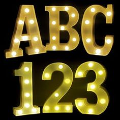 Light Up Marquee Lamps in the shapes of Letters and Numbers. Lighted Marquee Letters are battery powered and over 8 inches tall. Make your own message to display with bright light up marquee letters and numbers. Light Up Marquee Letters, Marquee Sign, Marquee Lights, Amber Led Lights, White Led Lights, Lighted Centerpieces, Tall Lamps, Lamp Light, Portable Battery