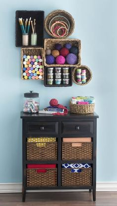 love this idea - turn baskets into shelves!  aol-diy-ideas-from-old-baskets-shelves-02