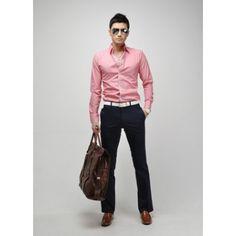 Pink Cotton Blends Shirt  $ 8.96