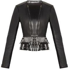 Herve Leger Jianna Fringe Leather Jacket (12.707.575 IDR) ❤ liked on Polyvore featuring outerwear, jackets, long sleeve jacket, genuine leather jacket, leather jacket, zip jacket and black zip jacket