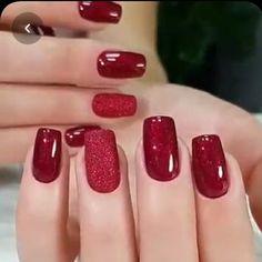 Elegant Nails, Classy Nails, Simple Nails, Trendy Nails, Classy Nail Designs, Red Nail Designs, Green Nails, Pink Nails, Red Gel Nails