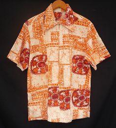 Vintage 60s Hawaiian Shirt 1960s VLV Men Orange by CatseyeVintage, $74.99