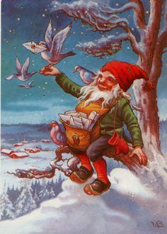 "Photo from album ""Lars Carlsson"" on Yandex. Scandi Christmas, Christmas Gnome, Vintage Christmas, Woodland Creatures, Magical Creatures, Kobold, Elves And Fairies, Christmas Illustration, Yule"