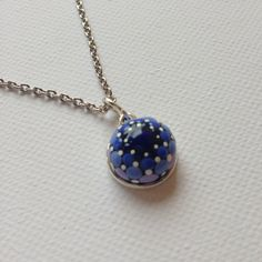Blue Mandala Stone Pendant Necklace Glass by CreateAndCherish