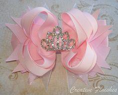 Sleeping Beauty Hair Bow Tiara Rhinestone Center Pink Princess Bow. $10.00, via Etsy.
