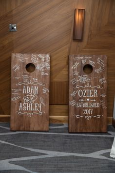 These are the beautiful corn hole boards my husband built us for our wedding guest book. We used Maple Ambrosia planks a Cute Wedding Ideas, Wedding Goals, Perfect Wedding, Diy Wedding, Fall Wedding, Rustic Wedding, Wedding Planning, Dream Wedding, Wedding Favors