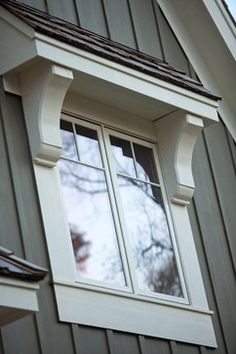 """Love the look of this window overhang (""""shed roof"""") with corbels to add architectural interest, plus it would help shade the room from the hot sun."""
