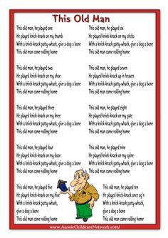 This Old Man Rhymes Worksheets