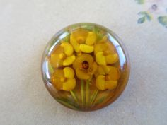 Vintage Carved Lucite Button 1 inch Carved by BonniesVintageAttic