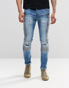 Sixth June Skinny Biker Jeans With Distressing