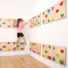Indoor wall mounted play climbing panels.