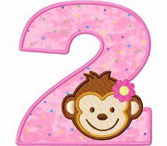 Girls monkey applique birthday numbers machine embroidery design. $6.50, via Etsy.