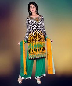 """http://www.istyle99.com/Salwar-Suit/Multi-Color-Semi-Stitched-Straight-Cut-Salwar-Kameez-7750.html Multi Color Semi Stitched Straight Cut Salwar Kameez - Rs 1080 Stitch Type: Semi-stitched Top Colour: Multi Bottom Colour: Green Dupatta Colour: Multi Kameez Fabric: Reyon Cotton Bottom Fabric: Cotton Dupatta Fabric: Printed CUSTOMIZED UP TO: 42"""" Bottom in Mtr: 2 Mtr Dupatta in Mtr: 2.25 Mtr Care Type: Dry Cleanr Work Type: Print"""