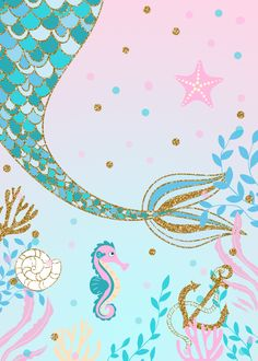 Mermaid Baby Showers, Baby Mermaid, Mermaid Art, Mermaid Crown, Mermaid Under The Sea, The Little Mermaid, Mermaid Invitations, Baby Shower Invitations, Mermaid Background