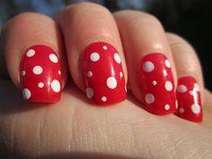 Red and White Polka Dot Nails