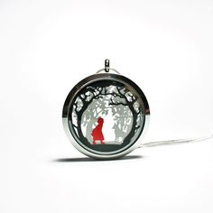 Red Riding Hood Large Papercut Pendant Fairytale Necklace from Studio Charley on Etsy Floating Lockets, Red And Grey, Black, White Gift Boxes, Round Pendant, Red Riding Hood, Little Red, Necklace Lengths, Paper Cutting