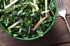 This recipe for kale-apple coleslaw with poppy seed dressing replaces the cabbage in traditional coleslaw with kale and apples.