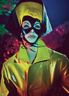 linda evangelista shot by steven klein - W Magazine - Catsuits & more fantasy... Marni lambskin coat. Falconiere bonnet; stylist's own mask.