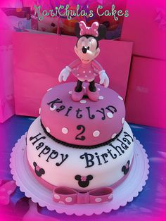 adorable minnie mouse birthday cake    I want to find someone to make this for Kayden :)