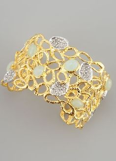 Alexis Bittar | Siyabona Petal Cuff Bracelet, Golden. Textured golden plate cuff with petal-like cutouts. Pave Swarovski® Crystals set in hammered golden plate. Pear- and Oval-Cut Peruvian Chalcedony. Adjustable; opening for slip-on style. Made in USA of Imported materials.