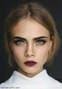 Fall beauty trend - Cara Delevingne with oxblood lipstick. #makeup #oxblood