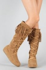 Cherokee-04F Fringe Lace Up Knee High Boot omg i need these