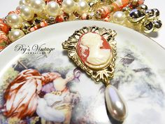 Victorian  Romantic Cameo Brooch//Pin With by PegsVintageJewellery, $13.00