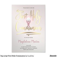 big script First Holy Communion Invitation