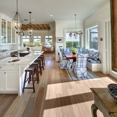 Blue + White + Windows + Wood Floors = Dream Kitchen