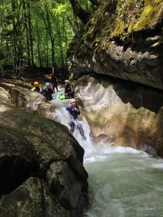 Water slide in the French Alps #canyoning  Photo: Happy Tracks