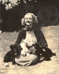 Bette Davis with two Scottish Terriers and a Sealyham Terrier