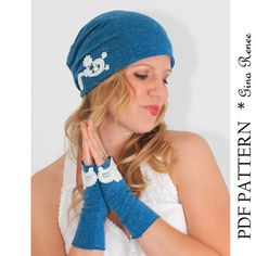Comination hat and glove Sewing PDF patterns. Slouchy Beanie Pattern and fingerless gloves by GinaReneeDesigns, $10.50