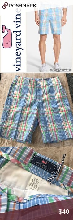 """🐳Vineyard Vines Plaid Classic Fit Breaker Short Bright pastel """"Ocean Surf"""" plaid brings refreshing color to a pair of cheerful flat-front shorts cut from comfortable cotton poplin. 9"""" inseam; 22"""" leg opening; 11"""" front rise; 16"""" back rise (size 32). Zip fly with button closure. Front slant pockets; back button-welt pockets. 100% cotton. Machine wash cold, tumble dry low. By Vineyard Vines; imported.                                               NWT/store closeout. 🚫no trades, low offers…"""