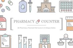 Nice and simple. Pharmacy icons. #pharmacy #icons #ad
