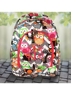 Gray Chevron Owl Party Large Backpack with Hot Pink Trim