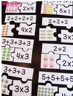 Repeated addition games students can play during math centers like these fun arrays puzzles that make introducing multiplication and equal groups exciting for kids Multiplication Activities, Math Games, Math Activities, Numeracy, Multiplication Tables, Multiplication Problems, Word Games, Learning Games, Kids Learning