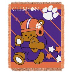 Clemson Tigers NCAA Triple Woven Jacquard Throw (Fullback Baby Series) (36x48)