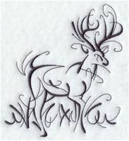 Machine Embroidery Designs - An Intricate Ink Deer calligraphy style - computerized embroidery pattern