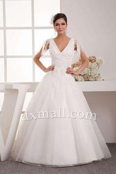 A-line Wedding Dresses V-neck Floor Length Organza Satin Ivory 01001010263
