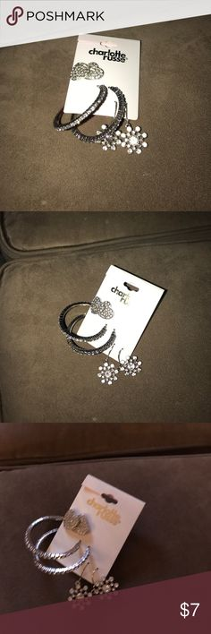 New hearts hoops flowers Charlotte Russe earrings Brand new rhinestone earrings one set of hearts, one set of hoops, one set of flowers by Charlotte Russe Charlotte Russe Jewelry Earrings