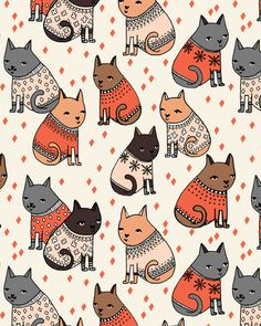 cats in sweaters // holiday christmas sweater ugly sweater illustration pattern for fashion textiles and wallpapers fabric by andrea_lauren on Spoonflower - custom fabric Fall Patterns, Textures Patterns, Print Patterns, Fabric Patterns, Cat Pattern, Pattern Art, Pattern Design, Crazy Cats, I Love Cats