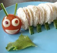 Very Hungry Caterpillar Party ~ sandwiches cut with a round cookie cutter, use a tomato for his head, cucumber for his feet and onion for his eyes