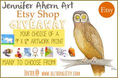 "All Things Etsy: Jennifer Ahern Art Etsy Shop Giveaway! Win your choice of a 9"" x 12"" artwork print.  Lots to choose from :)"