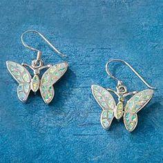 Dazzling Opal Butterfly Earrings