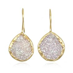 Charm & Chain | White Druzy Earrings  i'm seriously wowed by these earrings, easily the most beautiful piece of jewelry i've seen in awhile....