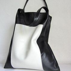 f14f055be02 B&W Lederen Bakken, Lederen Handtassen, Mode Tassen, Modehandtassen,  Winkeltas, Grote Tassen