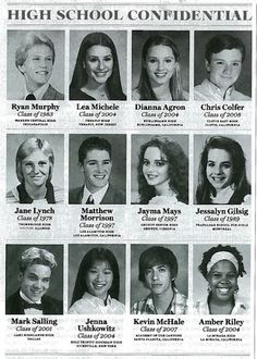 Cast of Glee - high school photos. Blast from the past!