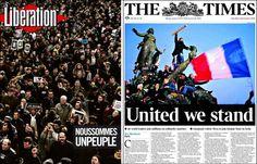 Clases de Periodismo | Manifestación por la libertad en las portadas del mundo #CharlieHebdo