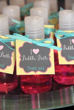 Bubble bath favors at a Favorite Things Birthday Party! See more ideas at CatchMyParty.com! #partyideas #favoritethings