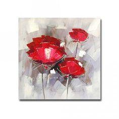 Tableau peinture à l'huile : Fleur rouge